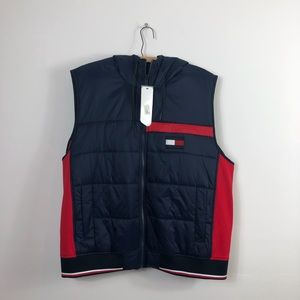 Blue and Red Tommy Hilfiger Vest with Hood size XL